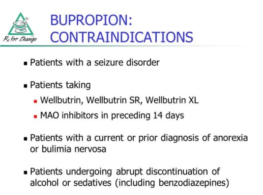 wellbutrin contraindication
